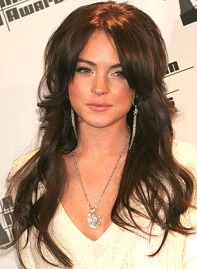 Lindsay Lohan's Long Brown Hair In Layered Shag Hairstyle