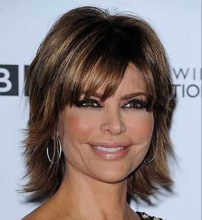 Lisa Rinna Brown Short Thick Sexy Mature Choppy Layered Hairstyle