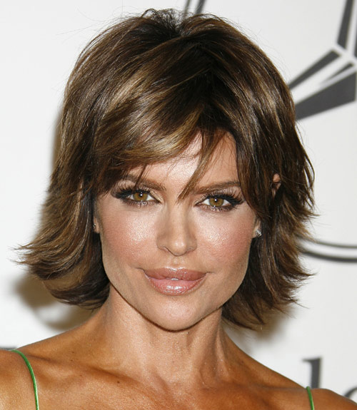 Lisa Rinna Short Sexy Brunette Modern Bob With Sideswept Bangs