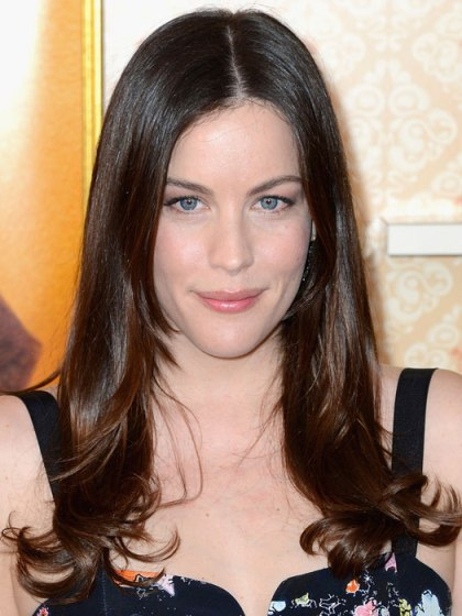 Liv Tyler Long Sleek Straight Layered Hairstyle With Middle Part