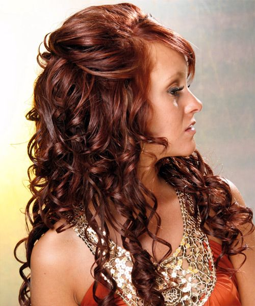 Long Auburn Hair In Voluminous Curly Hairdo For Prom
