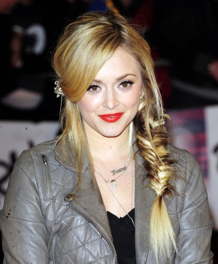 Long Blonde Hair In Loose Casual Side Fishtail Braid Hairdo