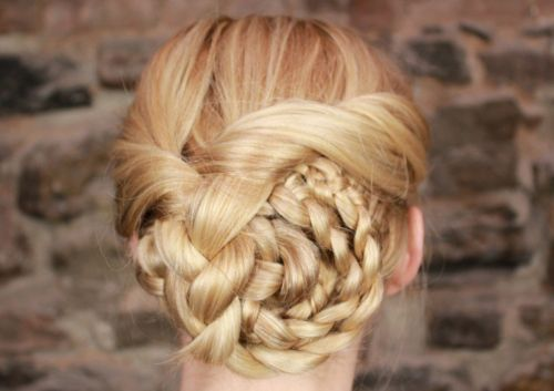Long Blonde Hair In Sophisticated Braided Updo For Prom