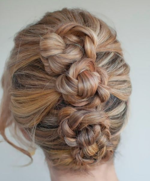 Long Blonde Hair In Twisted Braided Formal Updo For Prom