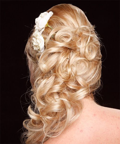 Long Blonde Hair In Voluminous Curly Half-Up Prom Hairdo