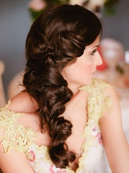 Long Brown Hair In Twisted Braid Formal Bridal Hairdo