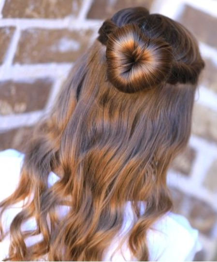 Long Brown Wavy Hair With Heart-Shaped Bun Hairdo