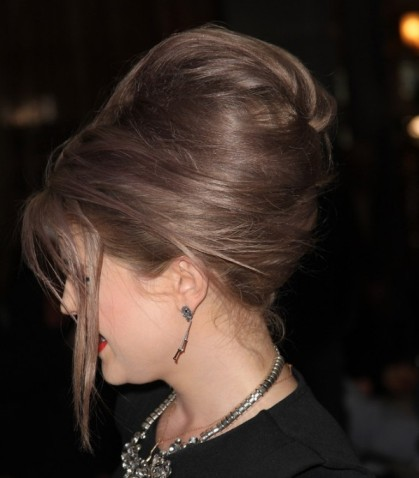 Long Brunette Straight Hair In 1960s Inspired Bouffant Formal Hairdo