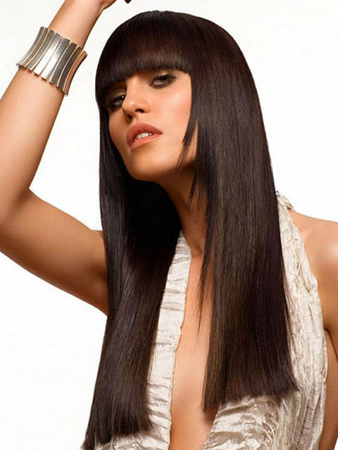 Long Hairstyle With Blunt Bangs - Party, Evening, Everyday ...