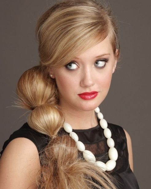 Long Straight Hair In Banded Side Ponytail Formal Hairdo