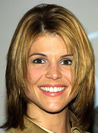 Lori Loughlin's Brown Hair In Short Straight Mature Shag Hairstyle