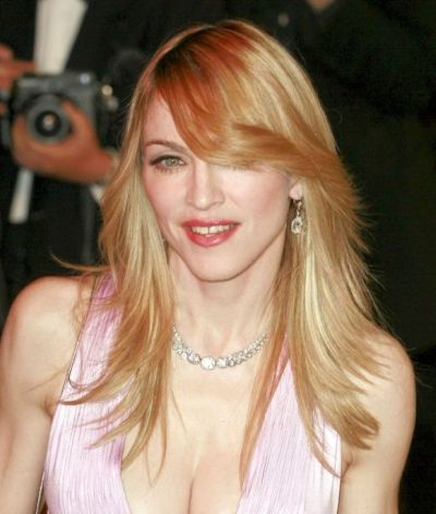 Madonna's Blonde Hair In Long Layered Straight Hairstyle
