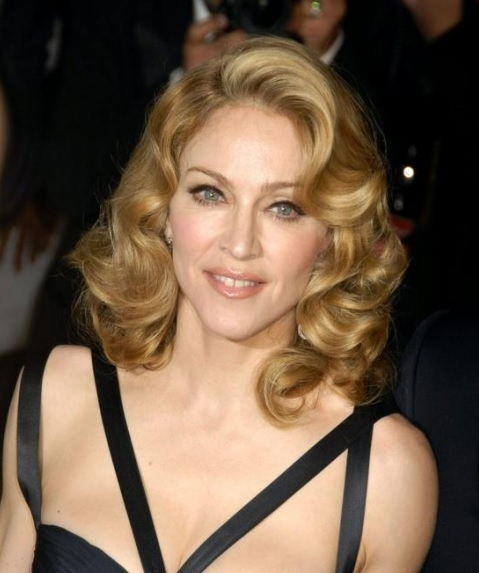 Madonna's Side Swept Big Curls Elegant Hairstyle