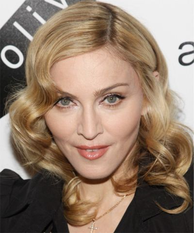 Madonna's Medium-Length Golden Blonde Hair In Finger Wave Hairstyle