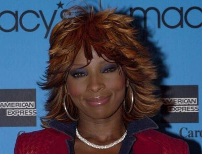 Mary J. Blige's Brown Hair In Medium-Length Shag Hairstyle