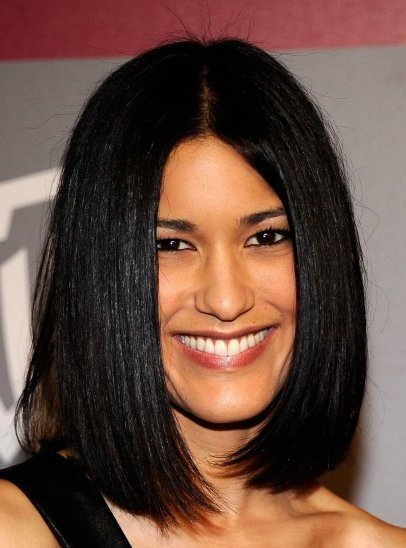 Medium-Length Glossy Black Hair In Sleek Long Bob Hairstyle
