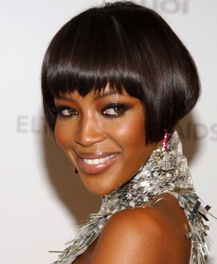 Naomi Campbell's Short Bob With Full Bangs
