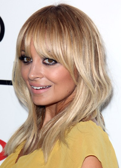 Nicole Richie Blonde Straight Medium Length Hair With Heavy Bangs