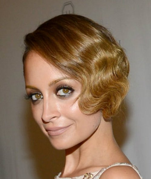 Nicole Richie Elegant Vintage Finger Wave Formal Updo Hairdo