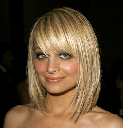Nicole Richie's Sleek Straight Medium-Length Hair With Side Bangs