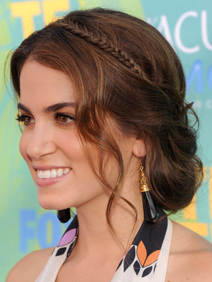 Nikki Reed's Brown Hair In Loose Chignon With Braided Headband