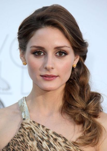 Olivia Palermo Long Brown Hair In Feminine Undone Braid Hairdo