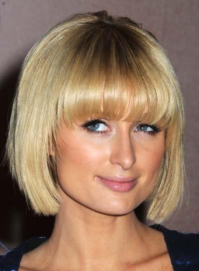 Paris Hilton Pretty Chic Short Straight Blonde Bob Hairstyle