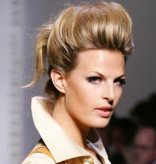 Blond Highlights Pompadour Bouffant Updo