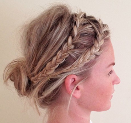 Blonde Double Braid Updo Prom Wedding Party Formal