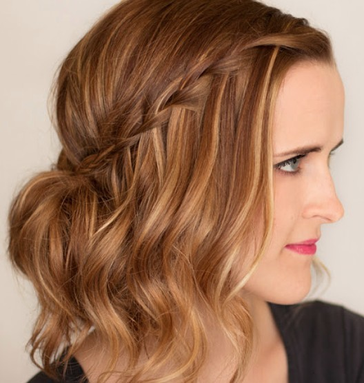 Wavy Bob With Waterfall Braid Party Evening Summer