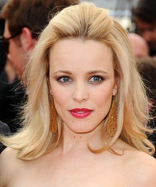 Rachel McAdams Pretty Straight Blonde Pulled Back Formal Hairstyle