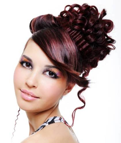 Red Hair In Modern Edgy Prom Updo Hairdo For Fine Hair