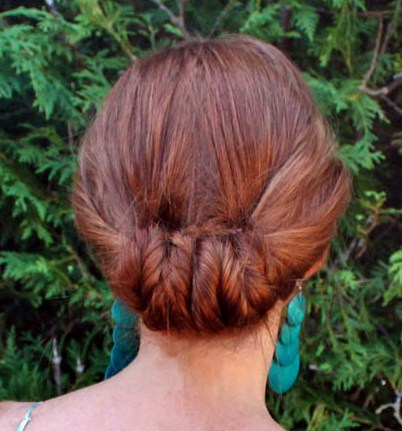 Long Red Hair In Formal Updo Consisting Of Twisted Fishtail Braids