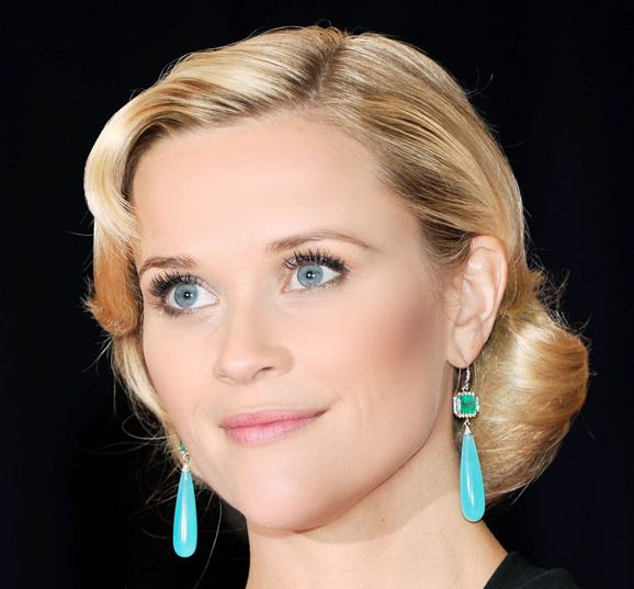 Reese Witherspoon's Blonde Hair In Wavy Vintage Formal Bridal Hairdo