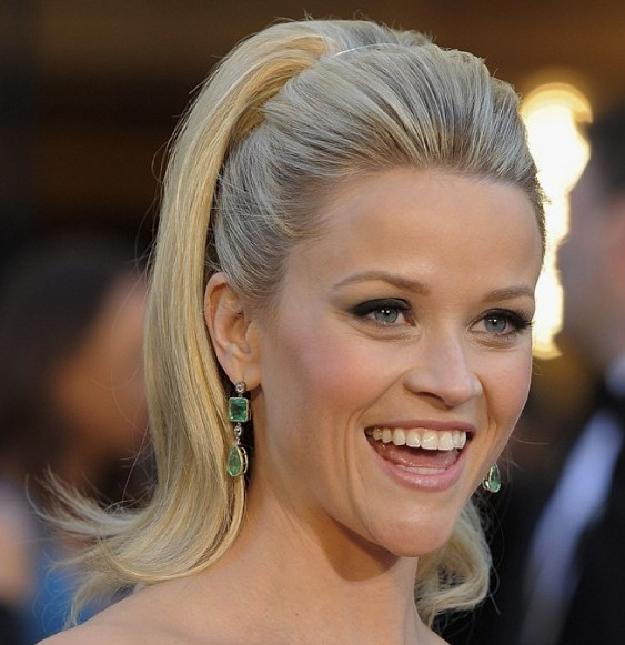 Reese Witherspoon's Blonde Straight Hair In Formal High Ponytail