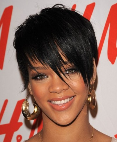 Rihanna's Chic Short Asymmetrical Black Straight Sleek Pixie Hairstyle