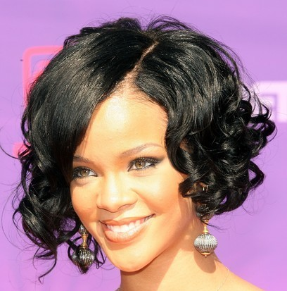 Rihanna With A Short Black Sassy Curly Bob Hairstyle