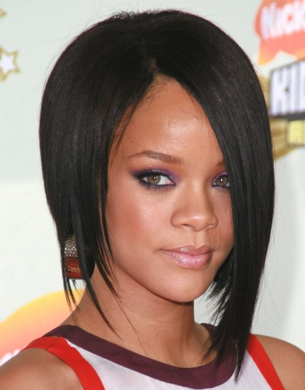 Rihanna's Sleek Straight Black Hair In A Modern Bob Hairstyle