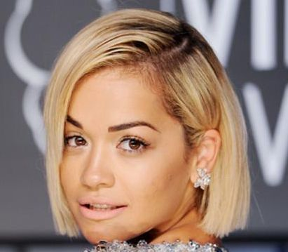 Rita Ora's Straight Chic Clean-Cut Blonde Bob Hairstyle
