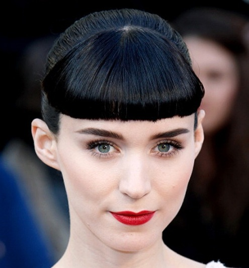 Rooney Mara Black Hair In Updo With Short Blunt Bangs