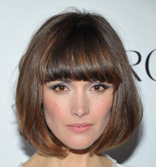 Rose Byrne Brunette Sleek Straight Hair In Pageboy Hairstyle