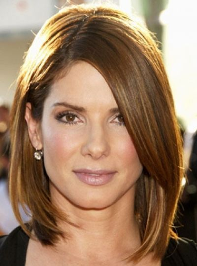 Sandra Bullock's Sleek Straight Brown Hair In Bob Hairstyle
