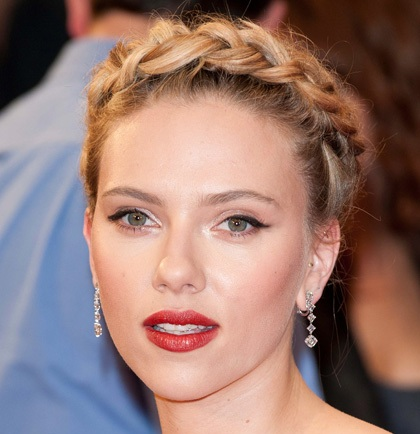 Scarlett Johansson Girly Blonde Braided Formal Halo Updo