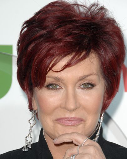 Sharon Osbourne's Short Straight Auburn Mature Hairstyle
