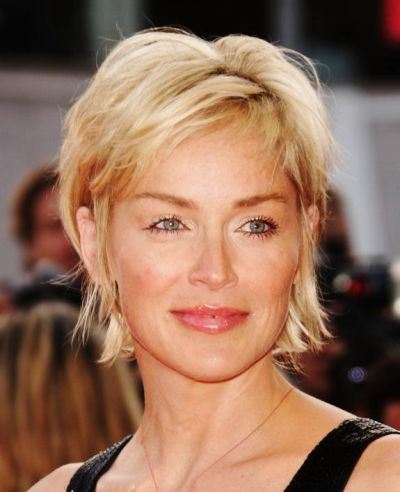 Sharon Stone's Blonde Hair In Short Layered Shag Hairstyle
