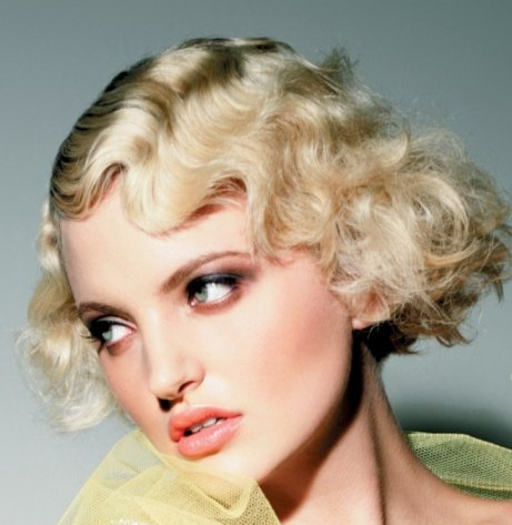 Short Blonde Hair In Retro Finger Wave Vintage Hairstyle