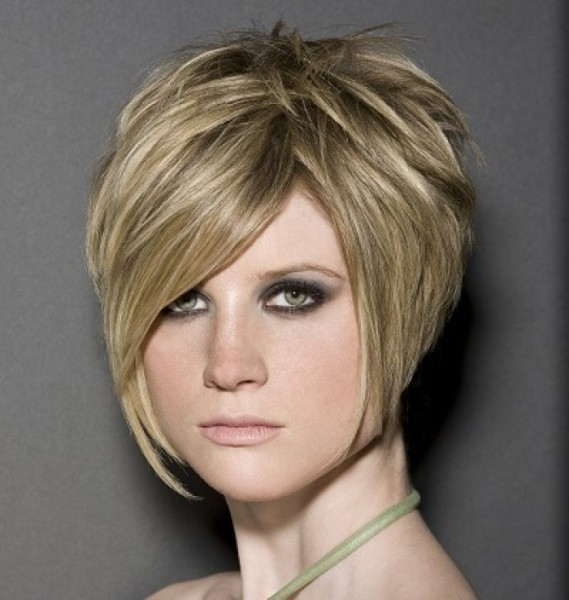 Short Straight Blonde Hair In Chic Polished Wedge Hairstyle