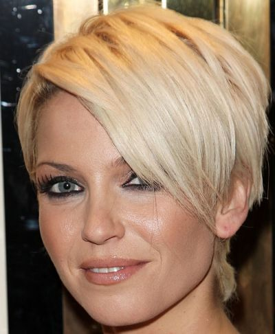 Short Straight Blonde Hair In Sexy Chic Wedge Hairstyle