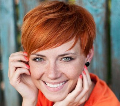 red straight pixie hairstyle  casual summer everyday