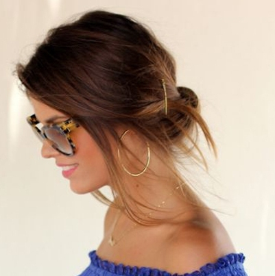 Simple Brunette Updo Casual Party Formal Evening Summer